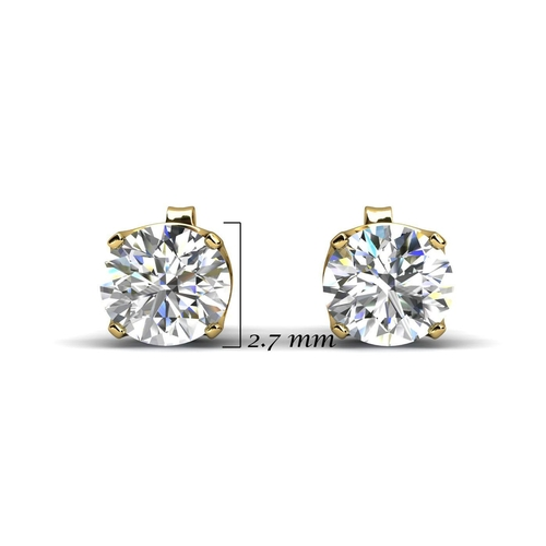 33 - Valued by GIE ?675.00 - 9ct Single Stone Four Claw Set Diamond Earring 0.15 Carats - 7203002, Colour...