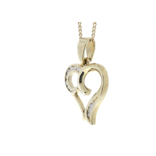 43 - Valued by GIE ?1,520.00 - 9ct Yellow Gold Heart Pendant with Diamonds in Top & Bottom Cormer Swirls ...