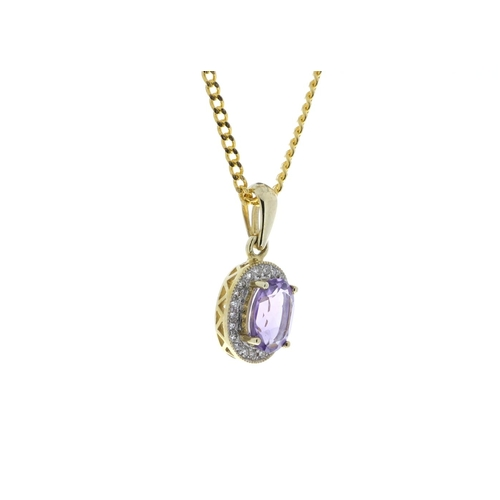 45 - Valued by GIE ?1,190.00 - 9ct Yellow Gold Amethyst And Diamond Pendant 0.11 Carats - 7380008A, Colou...