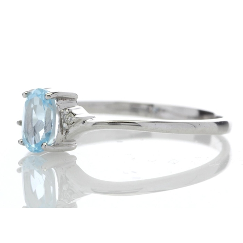 59 - Valued by GIE ?659.00 - 9ct White Gold Diamond and Oval Shape Blue Topaz Ring 0.01 Carats - 8140001L...