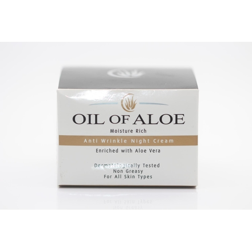 30 - X12 BRAND NEW OIL OF ALOE ANTI WRINKLE NIGHT CREAM, 50ML EACH, THERE ARE 12 ITEMS IN THIS LOT...