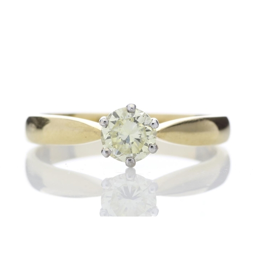 1 - Valued by AGI ?2,319.00 - 18ct Single Stone Fancy Vivid Yellow Claw Set Diamond Ring 0.56 Carats - 1...