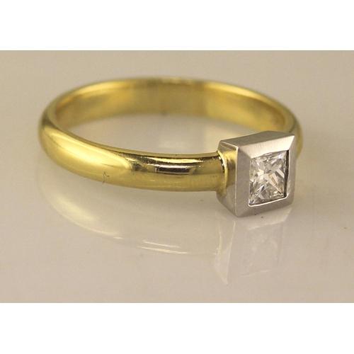 20 - Valued by AGI ?3,159.00 - 18ct Single Stone Princess Cut Rub Over Diamond Ring D SI 0.45 Carats - 11...