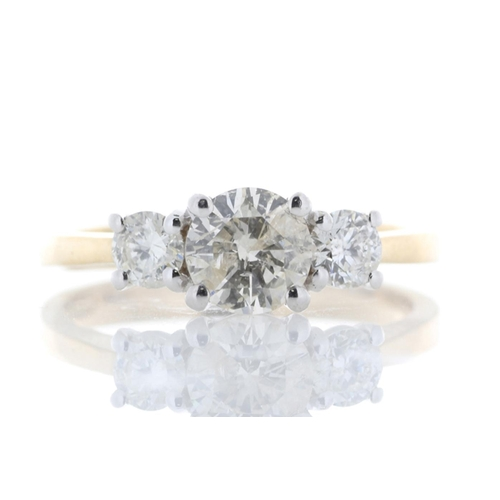 32 - Valued by GIE ?10,990.00 - 18ct Yellow Gold Three Stone Claw Set Diamond Ring 1.00 Carats - 1135048,...