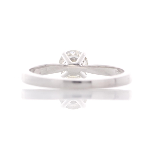 53 - Valued by GIE ?9,955.00 - 18ct White Gold Single Stone Prong Set Diamond Ring 0.57 Carats - 3103191,...