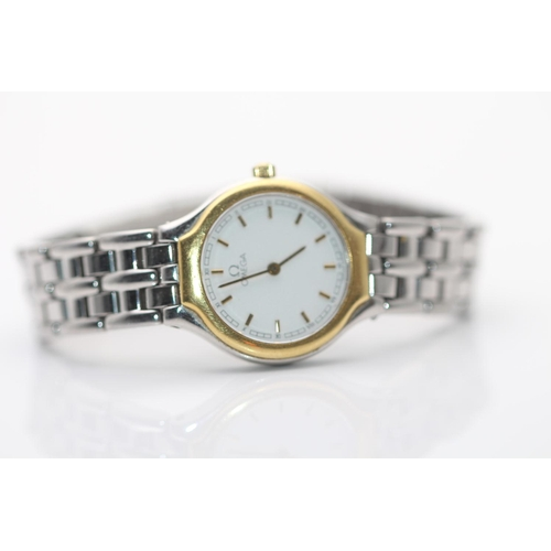 9 - LADIES OMEGA TWO TONE WATCH, QUARTZ, NEEDS A BATTARY...