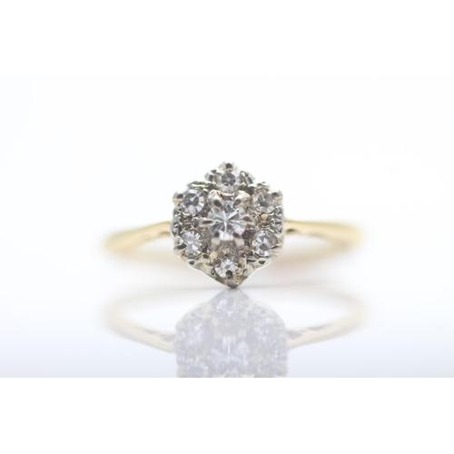 23 - 18CT YELLOW GOLD LADIES DIAMOND CLUSTER RING, RING SIZE- K (31)...