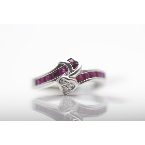24 - 14CT WHITE GOLD LADIES DIAMOND AND RUBY RING, RING SIZE- K (32)...