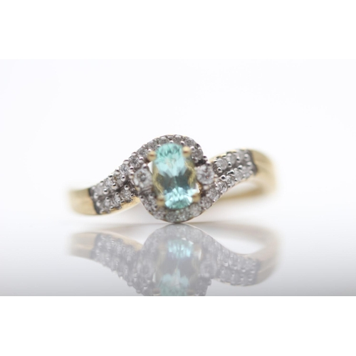35 - 9CT YELLOW GOLD LADIES DIAMOND AND TOPAZ RING, RING SIZE- O (55)...