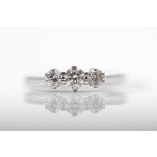 36 - 9CT WHITE GOLD LADIES THREE STONE DIAMOND RING, DIAMOND WEIGHT- 0.50CT, RING SIZE- N, (40)...