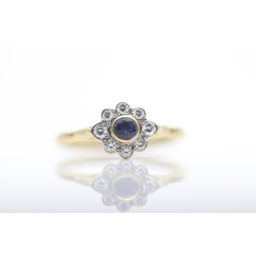 40 - 18CT YELLOW GOLD LADIES DIAMOND AND SAPPHIRE RING, RING SIZE- L (10)...