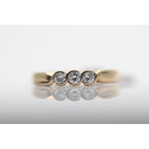 52 - 9CT YELLOW GOLD LADIES THREE STONE DIAMOND RING, RING SIZE- N (57)...