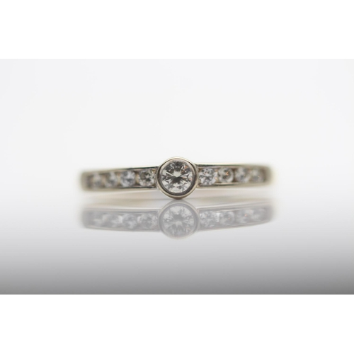 53 - 18CT YELLOW GOLD LADIES DIAMOND RING, RING SIZE- N (22)...