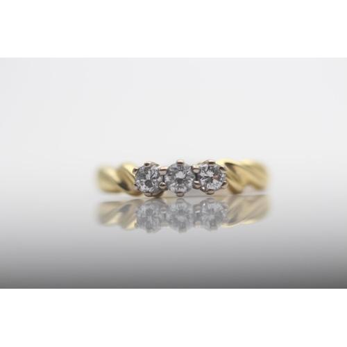 55 - 18CT YELLOW GOLD LADIES THREE STONE DIAMOND RING, RING SIZE- K (9)...