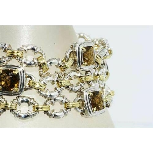 60 - 8.75CT CHARLE'S KRYPELL NATURAL HONEY QUARTZ & 18K/.925 SILVER BRACELET  8.75CT CHARLE'S KRYPELL NAT...