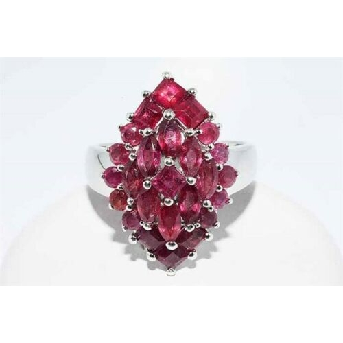 61 - 3.50CT NATURAL AFRICAN RUBY CLUSTER RING .925 STERLING SILVER SIZE 8 NATURAL RED AFRICAN RUBYS- 3.50...