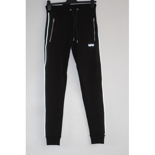 5 - MENS BRAND NEW WITH TAGS, BOOHOO MAN, SUPER SKINNY JOGGER WITH REFLECTIVE PIPING, BLACK, UK SIZE SMA...