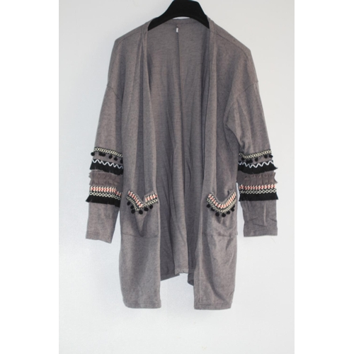 15 - LADIES BRAND NEW, UNBRANDED GREY CARDIGAN, WITH DETAILED SLEEVES & POCKETS, UK SIZE MEDIUM, RRP £15...