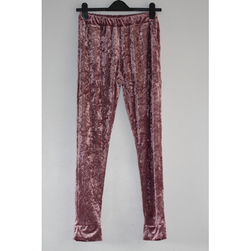 17 - LADIES BRAND NEW, UNBRANDED, PINK CRUSHED VELVET LOOK TROUSERS, UK SIZE LARGE, RRP £15...