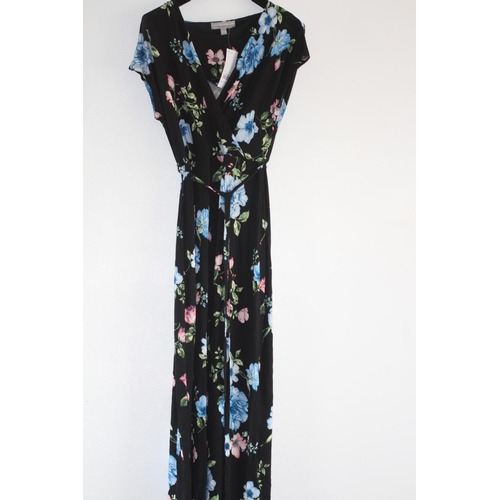 36 - LADIES BRAND NEW WITH TAGS, DOROTHY PERKINS, BLACK/FLORAL WRAP DRESS, UK SIZE 12, RRP £24...