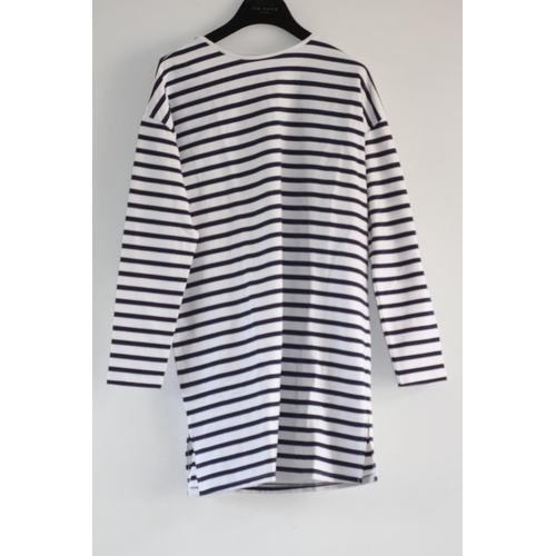 37 - LADIES BRAND NEW WITH TAGS, ASOS, SWEAT DRESS IN WHITE/NAVY STRIPE, LONG SLEEVED, UK SIZE 12, RRP £2...