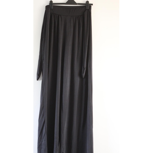 43 - LADIES BRAND NEW WITH TAGS, BOOHOO, TALL SLINKY BELTED WIDE LEG TROUSER, BLACK, UK SIZE 14, RRP £15...