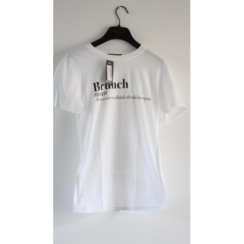 50 - LADIES BRAND NEW WITH TAGS, NASTY GAL, T-SHIRT, BRUNCH AN EXCUSE TO DRINK ALCOHOL, UK SIZE SMALL, RR...