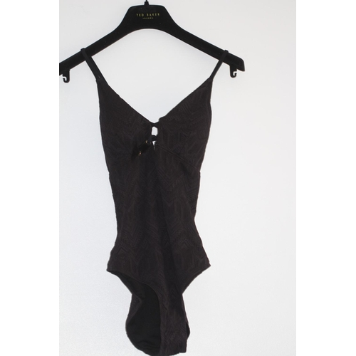 54 - LADIES BRAND NEW WITH TAGS, ACCESSORIZE, MACRAME FRONT SWIMSUIT, BLACK, UK SIZE 12, RRP £35...