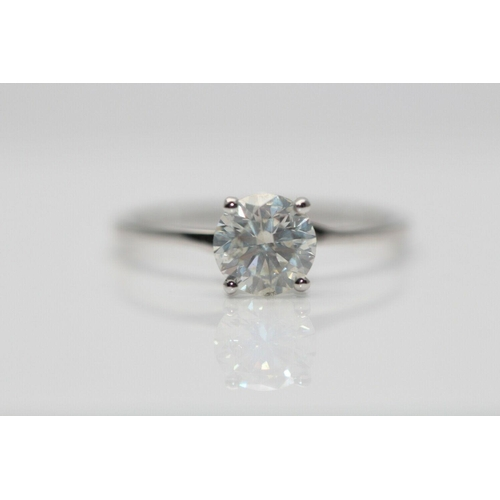 41 - 18CT WHITE GOLD LADIES DIAMOND SOLITAIRE RING, WEIGHT- 1.01CT, COLOUR- K, CLARITY- I1, INCLUDES AGI ...