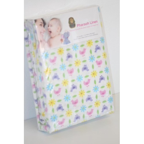 55 - Brand New Sealed Pharaoh Linen Thermal Flannette Brushed Cotton Cot Sheet Set, Set includes flat she...
