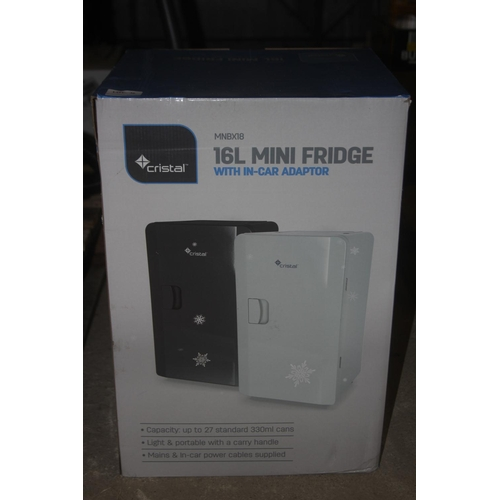 33 - GRADE U- BOXED CRISTAL 16ML MINI FRIDGE, MODEL- MNBX18, RRP-£80.00...