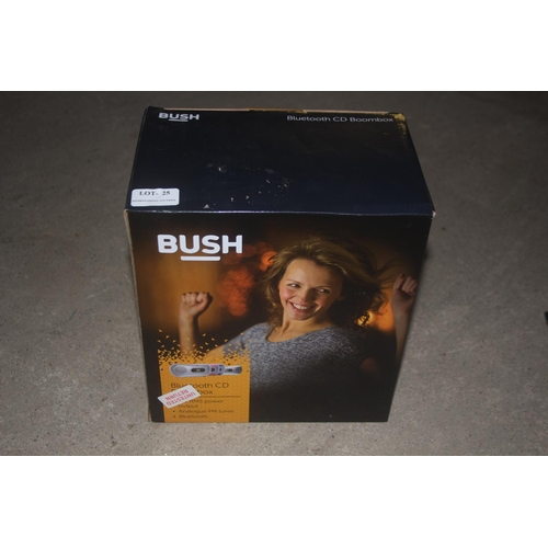 25 - GRADE U- BOXED  BUSH BLUETOOTH CD BOOMBOX MODEL CD-78B-BTFM RRP �20...