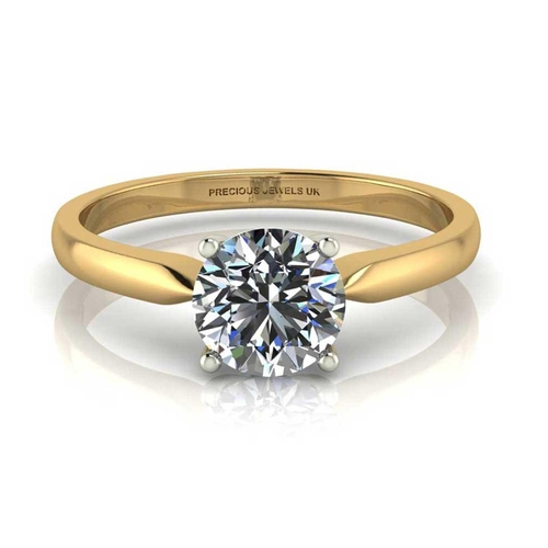 2 - Valued by AGI _1,538.00 - 18ct Yellow Gold Single Stone Claw Set Diamond Ring H VS 0.25 Carats - 110...