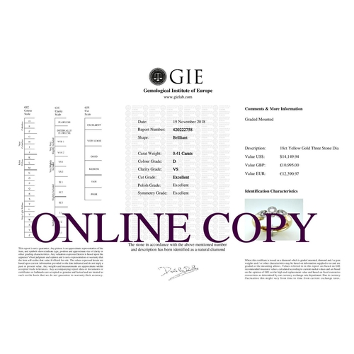 3 - Valued by GIE _10,995.00 - 18ct Single Stone Rub Over Stone Set Shoulder Diamond Ring D SI 0.41 Cara...