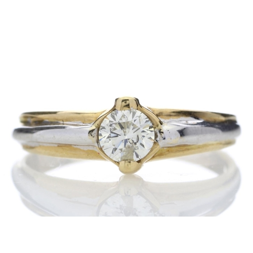 9 - Valued by GIE _7,450.00 - 18ct Two Tone Single Stone Rub Over Set Diamond Ring 0.35 Carats - 1107059...
