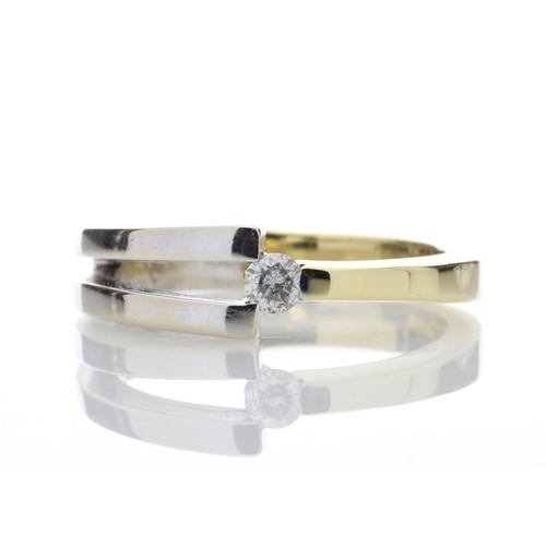 11 - Valued by AGI _2,355.00 - 18ct Single Stone Two Tone  Diamond Set Ring H SI 0.13 Carats - 1107065, C...