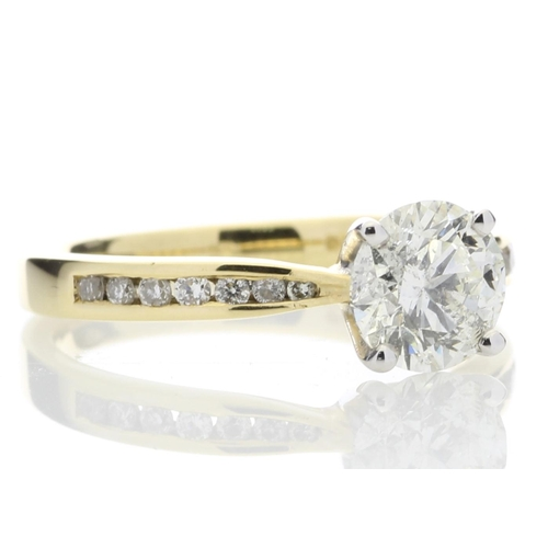 15 - Valued by IDI _38,845.00 - 18ct Yellow Gold Single Stone Diamond Ring With Stone Set Shoulders (1.11...