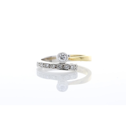 17 - Valued by GIE _7,595.00 - 18ct Single Stone Rub Over With Stone Set Shoulders Diamond Ring 0.11 Cara...