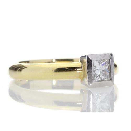 19 - Valued by AGI _3,159.00 - 18ct Single Stone Princess Cut Rub Over Diamond Ring D SI 0.45 Carats - 11...
