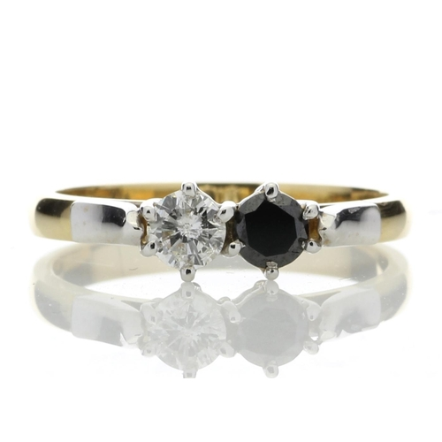 23 - Valued by AGI _2,080.00 - 18ct Two Stone Claw Set Diamond With Black Treated Stone Ring 0.50 Carats ...