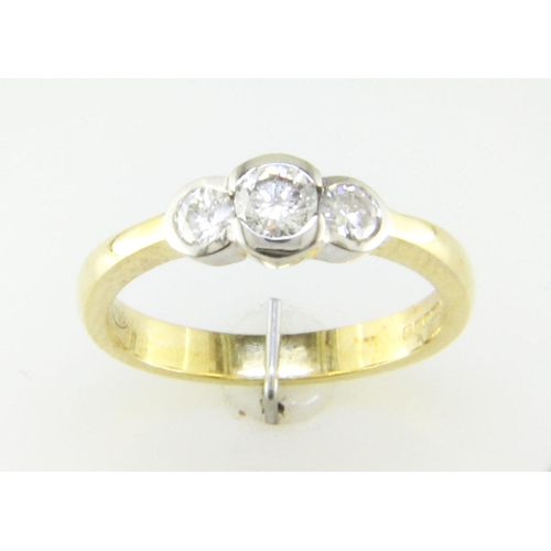 30 - Valued by GIE _11,495.00 - 18ct Three Stone Rub Over Set Diamond Ring 0.65 Carats - 1136022, Colour-...