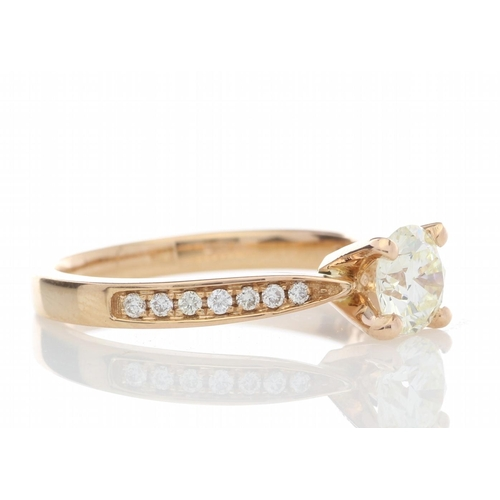 35 - Valued by GIE _23,990.00 - 18ct Rose Gold Single Stone With Stone Set Shoulders Diamond Ring (0.72) ...