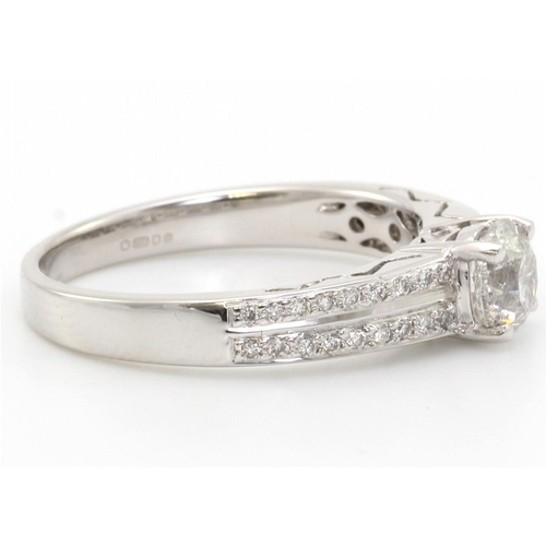 49 - Valued by GIE _19,850.00 - 18ct White Gold Single Stone Diamond Ring With Double Chanel Set Shoulder...