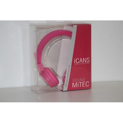 64 - BOXED BRAND NEW ICAN HEADPHONES IN PINK, STYLISH AND SLEEK DESIGN...