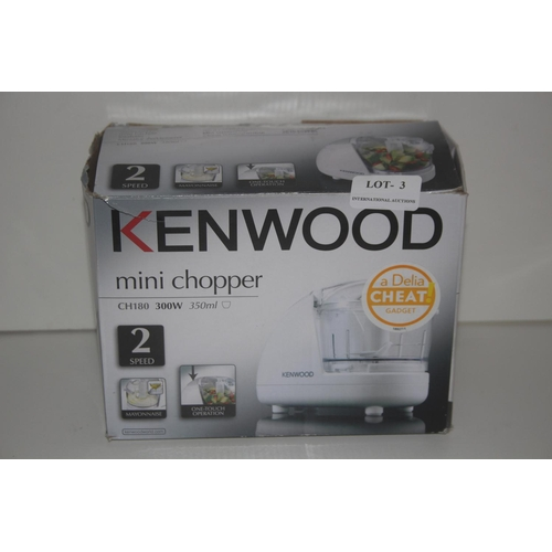 3 - GRADE U- BOXED KENWOOD MINI CHOPPER MODEL: CH180 RRP �20...
