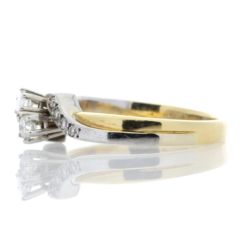 28 - Valued by AGI _2,895.00 - 18ct Two Stone Twist  With Stone Set Shoulders Diamond Ring 0.24 Carats - ...