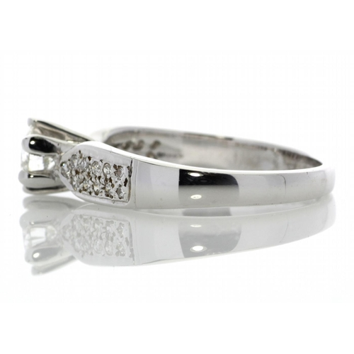 48 - Valued by GIE _16,495.00 - 18ct White Gold Single Stone Claw Set With Stone Set Shoulders Diamond Ri...