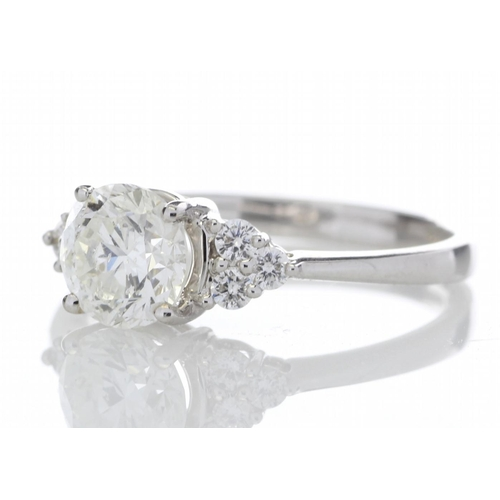 50 - Valued by GIE _59,995.00 - 18ct White Gold Single Stone With Heart Shaped Set Shoulders Diamond Ring...
