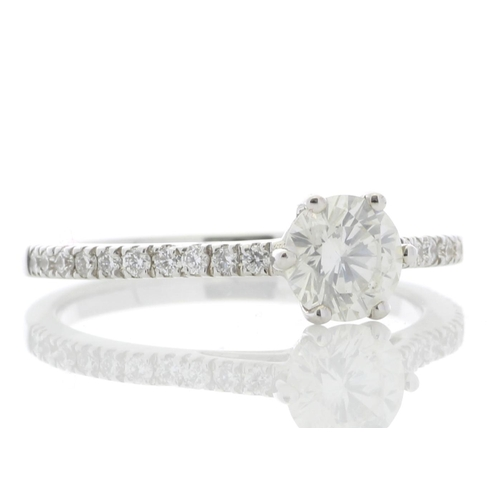 51 - Valued by GIE _24,495.00 - 18ct White Gold Solitaire Diamond ring  With Stone Set Shoulders (0.71) 0...