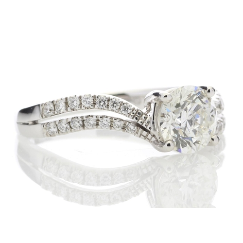 52 - Valued by GIE _43,955.00 - 18ct White Gold Solitaire Diamond Ring With  Two Rows Shoulder Set (1.09)...